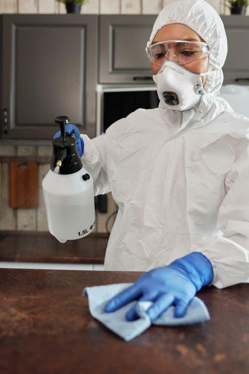 Pest control services spraying the insecticide in the kitchen.
